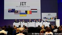 28.09.2016 Members of a joint investigation team present the preliminary results of the criminal investigation into the downing of Malaysia Airlines flight MH17 , in Nieuwegein, on September 28, 2016. Last year a separate inquiry led by the Dutch Safety Board (OVV) found the Boeing 777 was hit by a BUK missile fired from an area most likely in rebel-held eastern Ukraine, where pro-Russian separatists have been battling Ukrainian forces since early 2014. / AFP / EMMANUEL DUNAND (Photo credit should read EMMANUEL DUNAND/AFP/Getty Images) Copyright: Getty Images/AFP/E. Dunand