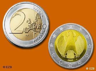 Moneda de dos euros, anverso y reverso.