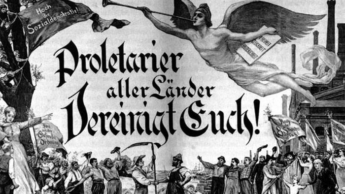 Cartaz em alemão com os dizeres: Proletários do mundo, uni-vos