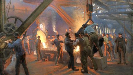 Pintura mostra o trabalho em uma siderúrgica em 1885