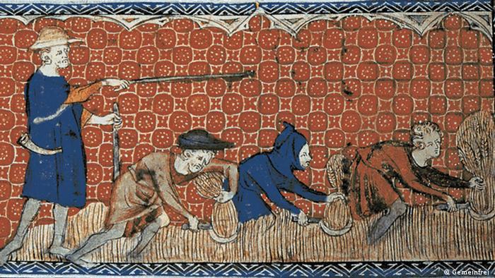 Gravura representa trabalho na lavoura na Idade Média