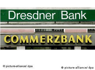 Company signs of Dresdner Bank and Commerzbank