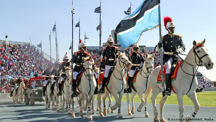 Mounted Botswana troops on parade during Botswana's independence anniversary celebrations in 2014