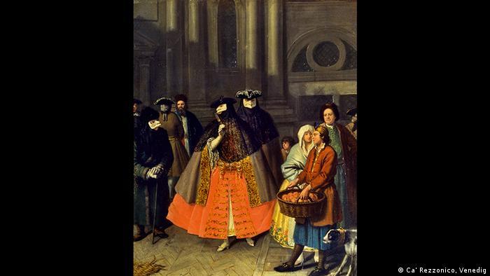 Unterhaltung zwischen Maskierten Pietro Longhi, Foto: Ca' Rezzonico, Venedig