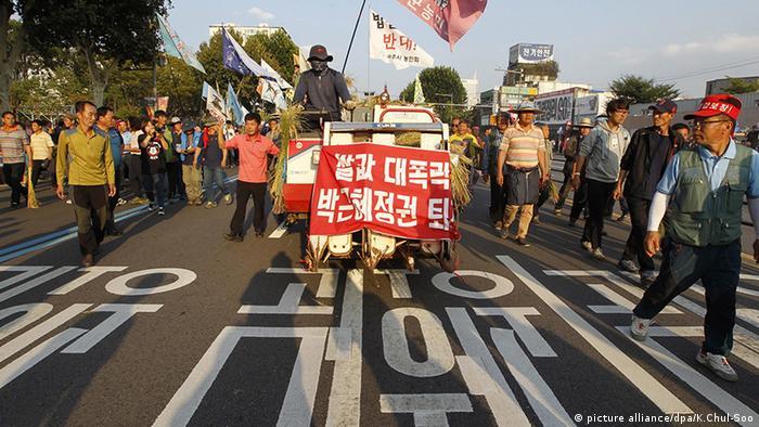 Proteste um Baek Nam-ki Farmer Agrarpolitik Südkorea