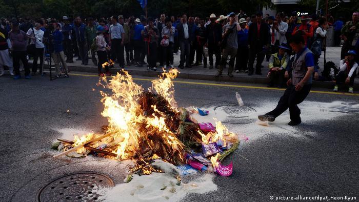 Proteste um Farmer Baek Nam-ki Südkorea Agrarpolitik