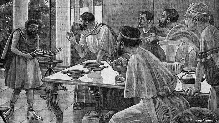 Gravura retrata um serviçal trabalhando para a nobreza na Grécia antiga