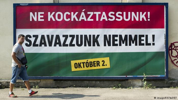 Budapest Ungarn Referendum Plakate