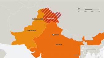 Die Karte von Kaschmir und der umstrittenen Grenzregion (Foto: DW)