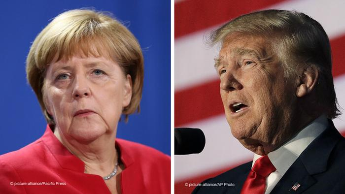 Kombobild Merkel Trump 2016 (picture alliance)