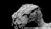 Title Comet from 15.5 km – wide-angle camera Released 30/09/2016 6:59 am Copyright ESA/Rosetta/MPS for OSIRIS Team MPS/UPD/LAM/IAA/SSO/INTA/UPM/DASP/IDA Description Rosetta's OSIRIS wide-angle camera captured this image of Comet 67P/Churyumov-Gerasimenko at 02:17 GMT from an altitude of about 15.5 km above the surface during the spacecraft's final descent on 30 September.