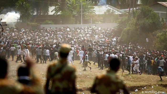 Protestos anti-governamentais na Etiópia, em outubro de 2016