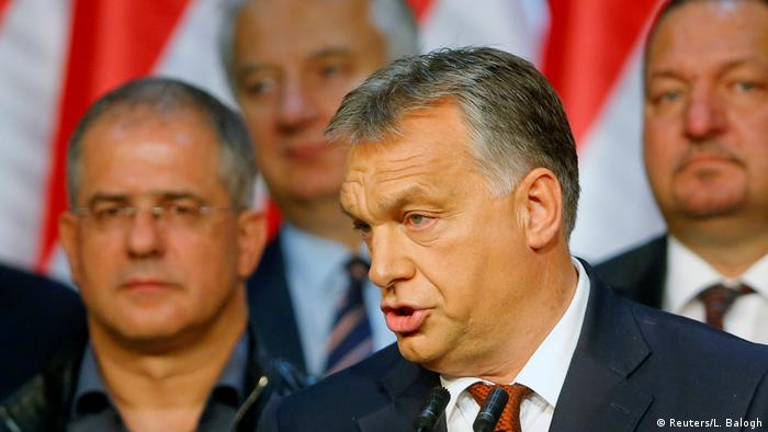 Viktor Orban delivers a speech after the Brexit referendum
