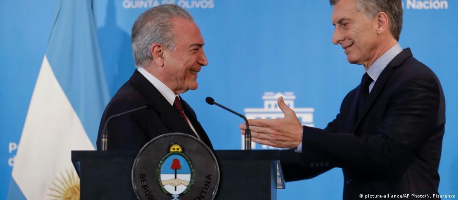 Temer e Macri em Buenos Aires em outubro: Brasil e Argentina têm líderes considerados liberais