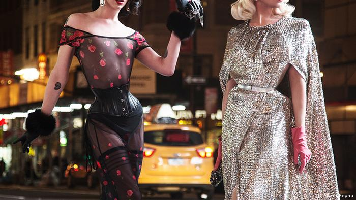 Violet Chachki (right), with Miss Fame at the New York Fashion Week, won the seventh season of the TV show RuPaul's Drag Race (Adam Reyna)