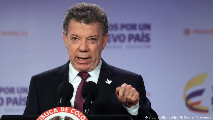 Kolumbien Pressekonferenz vom Präsidenten Santos