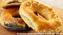 Fresh assorted Montreal style bagels close up
