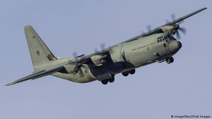 A C 130J Super Hercules of the Royal Australian Air Force turns on to final approach at Nellis Air F (Imago/StockTrek Images)