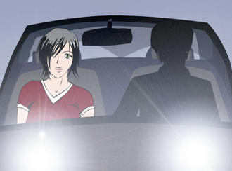 Paula drives a car with an unrecognizable man.