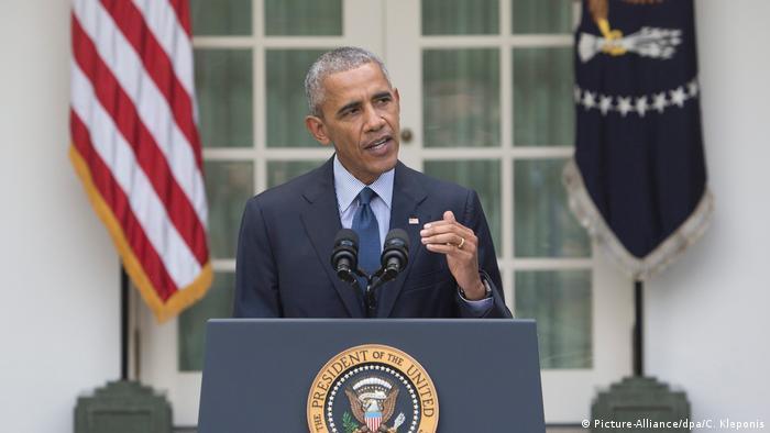 US-Präsident Barack Obama macht eine Aussage über das Pariser Abkommen (Picture-Alliance/dpa/C. Kleponis)