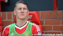 FILE- Manchester United's Bastian Schweinsteiger reacts during the English Premier League soccer match between Manchester United and Tottenham Hotspur at Old Trafford, Manchester, Britain, 8 August 2015. EPA/PETER POWELL EDITORIAL USE ONLY. No use with unauthorized audio, video, data, fixture lists, club/league logos or 'live' services. Online in-match use limited to 75 images, no video emulation. No use in betting, games or single club/league/player publications (zu dpa «Am Geburtstag degradiert:Schweinsteiger nur noch Reservist» am 01.08.2016) +++(c) dpa - Bildfunk+++ | © picture-alliance/dpa/P. Powell