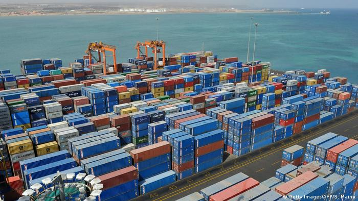 Shipping containers at the port of Djibouti