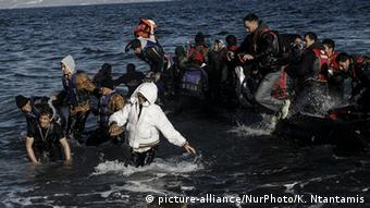 Refugees arriving on the shores of Lesbos