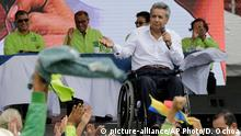 01.10.2016 +++ Lenin Moreno, a human rights activist and a former vice president, speaks at a rally where he was tapped as Ecuador's ruling party presidential candidate, in Quito, Ecuador, Saturday, Oct. 1, 2016. The elections for president and legislators are scheduled for Feb. 19, 2017. Copyright: picture-alliance/AP Photo/D. Ochoa