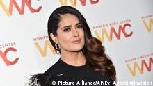 Women's Media Center Sisterhood is Global Award recipient and actress Salma Hayek Pinault attends the 2016 Women's Media Awards at Capitale on Thursday, Sept. 29, 2016, in New York. (Photo by Evan Agostini/Invision/AP)