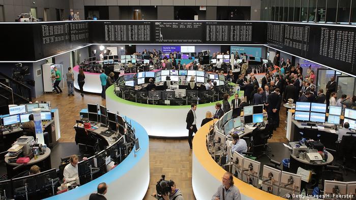 Главный торговый зал Франкфуртской фондовой биржи.