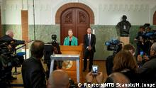 7.10.2016*** Oslo, 20161007:Kaci Kullmann Five, chairman of the Nobel Peace Prize award committee, announces the laureate of Nobel Peace Prize 2016: Colombian President Juan Manuel Santos. To the right is Olav Njoelstad, secretary of the committee. Heiko Junge/NTB Scanpix/via Reuters ATTENTION EDITORS - THIS IMAGE WAS PROVIDED BY A THIRD PARTY. FOR EDITORIAL USE ONLY. NOT FOR SALE FOR MARKETING OR ADVERTISING CAMPAIGNS. THIS PICTURE IS DISTRIBUTED EXACTLY AS RECEIVED BY REUTERS, AS A SERVICE TO CLIENTS. NORWAY OUT. NO COMMERCIAL OR EDITORIAL SALES IN NORWAY. NO COMMERCIAL SALES.Reuters/NTB Scanpix/H. Junge