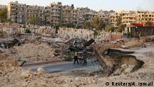 Syrien Zerstörung und Friedhof in Aleppo