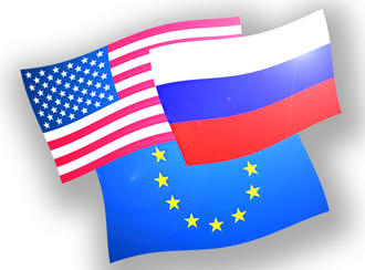 EU, US and Russian flags