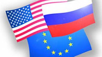Flaggen USA, Russland EU (Grafik: DW)