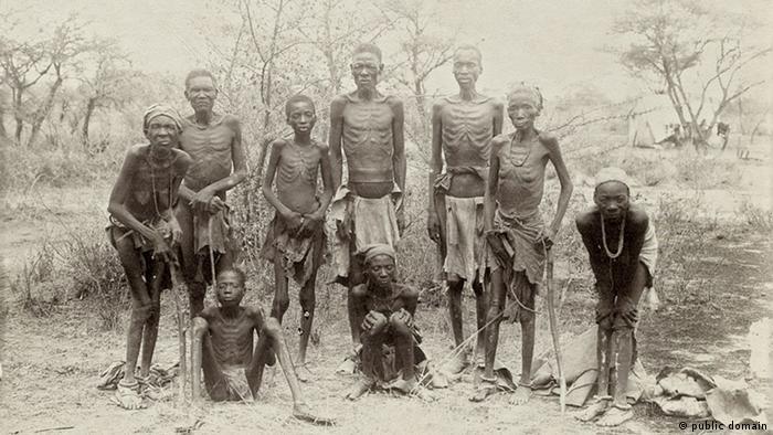 Emaciated Herero survivors