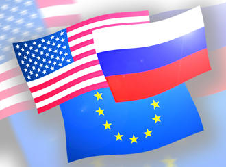 Flags of the USA, Russia and the EU