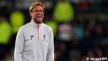 Liverpool manager Jurgen Klopp laughs during the EFL Cup Third Round match between Derby County and Liverpool played at the iPro Stadium, Derby on 20th September 2016 / Football - EFL Cup 2016/17 Third Round Derby County v Liverpool Pride Park, Pride Pkwy, Derby, United Kingdom 20 September 2016 Â PUBLICATIONxNOTxINxUKxFRAxNEDxESPxSWExPOLxCHNxJPN BPI_KM_DERBY_LIVERPOOL_065.jpg imago/BPI Liverpool Manager Jurgen Klopp laughs during The EFL Cup Third Round Match between Derby County and Liverpool played AT The iPro Stage Derby ON 20th September 2016 Football EFL Cup 2016 17 Third Round Derby County v Liverpool Pride Park Pride Pkwy Derby United Kingdom 20 September 2016 Â PUBLICATIONxNOTxINxUKxFRAxNEDxESPxSWExPOLxCHNxJPN BPI_KM_DERBY_LIVERPOOL_065 jpg