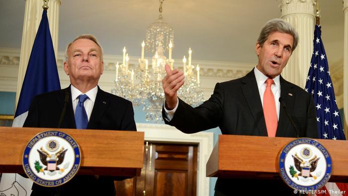 USA US-Außenminister John Kerry und französicher Außenminister Jean-Marc Ayrault treffen sich in Washington (REUTERS/M. Theiler)