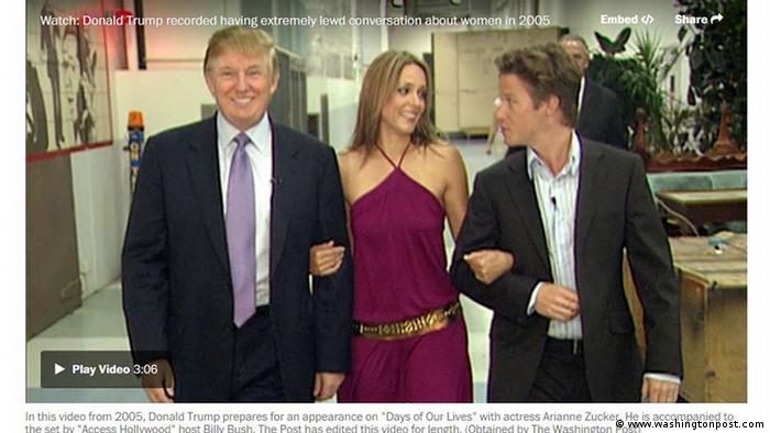 Screenshot vom Donald Trumps Video mit sexistische Aussagen veröffentlich bei der Washington Post (www.washingtonpost.com)