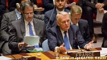08.10.2016 ++++++++++++++ The United Nations Security Council holds an emergency meeting on a French-Spanish resolution on Syria at the UN headquarters, October 8, 2016, in New York City. Russia on Saturday vetoed a United Nations draft resolution demanding an end to the bombing of Syria's war-battered city of Aleppo. / AFP / DOMINICK REUTER (Photo credit should read DOMINICK REUTER/AFP/Getty Images)