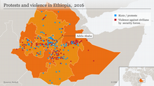 Infografik / Karte Protests and violence in Ethiopia, 2016