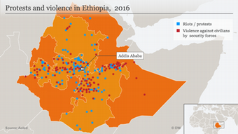 Infografik / Karte Protests and violence in Ethiopia, 2016
