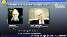 10.10.2016+++ Winners of the Nobel Prize in Economic Sciences British-American economist Oliver Hart (L) and Bengt Holmstrom of Finland are displayed on a screen during a press conference to announce the winner of the 2016 Nobel Prize in Economic Sciences at the Royal Swedish Academy of Sciences in Stockholm on October 10, 2016. Hart and Holmstrom won the Prize for their work on contract theory, the jury said. +++ (C) Getty Images/AFP/J. Nackstrand