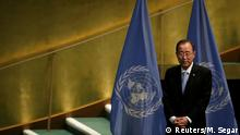 U.N. Secretary General Ban Ki-moon stands during meeting at United Nations headquarters in New York