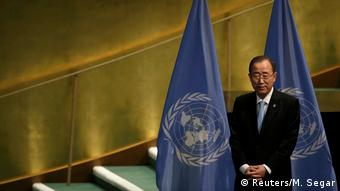 U.N. Secretary General Ban Ki-moon stands during meeting at United Nations headquarters in New York (Reuters/M. Segar)