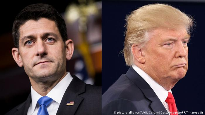 Collage - Donald Trump und Paul Ryan (picture-alliance/AA/S. Corum&Getty Images/AFP/T. Katopodis)