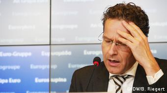Ο επικεφαλής του Eurogroup, Γερούν Ντάισελμπλουμ στη συνέντευξη τύπου σήμερα στο Λουξεμβούργο