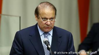 Muhammad Nawaz Sharif speaks at summit meeting for refugee crisis at the UN (picture-alliance/dpa/M.Graff )
