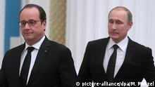 MOSCOW, RUSSIA. NOVEMBER 26, 2015. France's President Francois Hollande (L) and Russia's President Vladimir Putin seen during a press conference following their meeting at Moscow's Kremlin. +++ (C) picture-alliance/dpa/M. Metzel