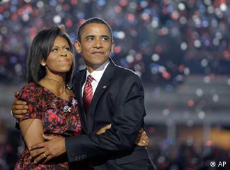 Барак Обама с супругой Мишель на съезде демократов 28 августа